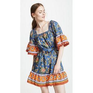 Joie Chloris Baja Batik Bell Sleeve Blue Dress